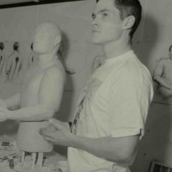 Artist and model working in National Maritime Museum Greenwich