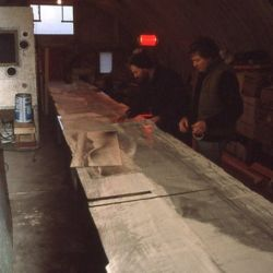 Technicians working on Iona glass frieze