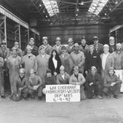 Artist with MB5 shipyard workers, UIE Shipyard, Clydebank